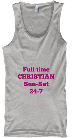 Full Time Christian Sun Sat 24 7 Deep Heather Tank Top Front
