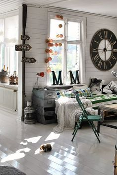 Oversized clock and monogram in unexpected places