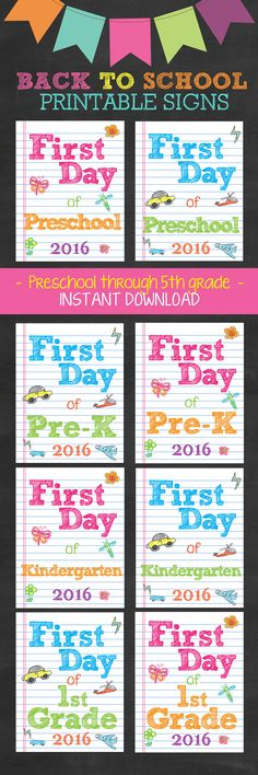First Day of School Printable Sign Set - Perfect for siblings Instant Downloadable files. Just print on standard printer paper or card stock. back to school #firstday www.InvitationCelebration.com