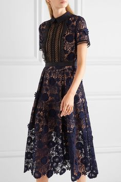 Self-Portrait | Camilla chiffon-trimmed guipure lace dress | NET-A-PORTER.COM