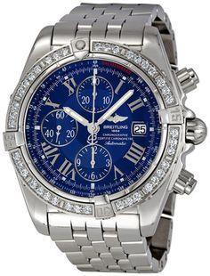 Breitling Chronomat Evolution Blue Dial Diamond Bezel Automatic Mens Watch