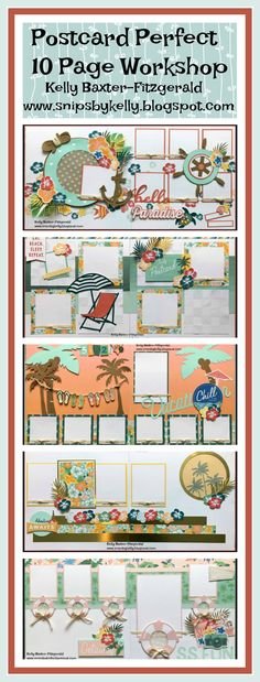 CTMH Postcard Perfect 10 Page Workshop Guide for consultants and workshop for customers. Vacation scrapbook layouts, beach scrapbook layouts, flip flop scrapbook layouts, cruise scrapbook layouts, summer scrapbook layouts