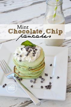 Mint chocolate chip pancakes Saint Patrick's Day