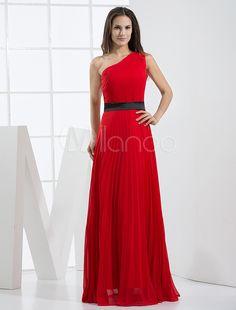 Abendkleid aus Chiffon mit Einschulter in Rot