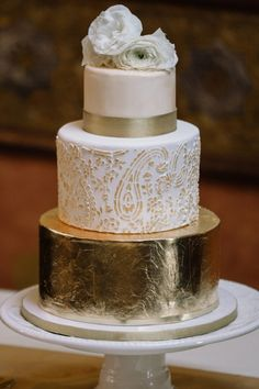 Rustic Glam Gold Foil Three Tiered Wedding Cake with Paisley Pattern and White Rose Topper