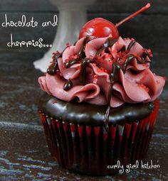 Valentine's Chocolate Covered Cherry Cupcakes
