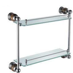 New Modern Chrome-colored Glass Shelf Double-layer Copper & Marble... ($160) ❤ liked on Polyvore featuring home, bed & bath, bath, bath accessories, bath shelves, bathroom, copper bath accessories, marble shelf, chrome bath accessories and modern shelves