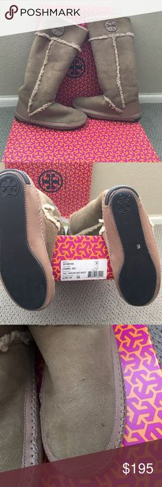 Super hot Tory Burch Tall shearling boot. Super hot Tory Burch Tall shearling boot.  100% authentic.  Lightly worn, has a few tiny spots as shown in the picture.  Bottom of heel reads Tory Burch.  Purchased for $295.  Wish I could keep these but purchased them in a size 10 and I am a size 9. Tory Burch Shoes Winter & Rain Boots