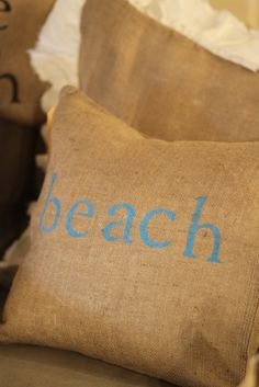 burlap pillow with beach in blue...LOVE and yes...I want!