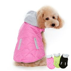 A quilted dog coat with detachable sweatshirt hood, pocket design and convenient leash hole.