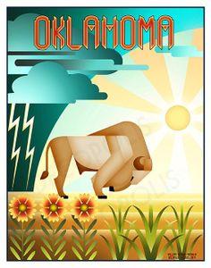 Oklahoma Buffalo Print 11 x 14 by DECOPOLIS on Etsy, $20.00