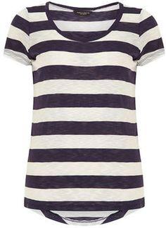 Navy/white twist neck tee on shopstyle.com