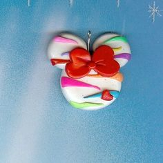 Rainbow Zebra Miss Mouse Polymer clay Bow Centers, Beads, Pendants