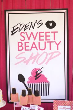 Sweet beauty shop for a cute girls makeup party, party printables, make-up, spa party , party ideas, girl theme