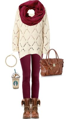 Red leggings/tights, red infinity scarf, white sweater, brown combat boots