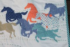 "Detail of ""All the pretty wild bush horses"" baby quilt by K B Field, via Flickr. amazing quilt. love it."