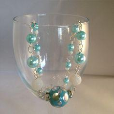 $20   Aqua blue necklace aqua necklace light blue by handmadebymand72