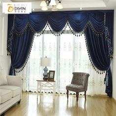 DIHIN HOME Exquisite Solid Blue Embroidered Valance,Blackout Curtains Grommet Window Curtain for Living Room Panel Grommet Curtains, Blackout Curtains, Window Curtains, Sheer Curtains, Drapery, Burgundy Living Room, Living Room Decor Curtains, Decor Room, Bedrooms