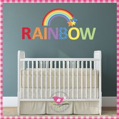 Rainbow & Stars Nursery Wall Art Stickers / Decals - pinned by pin4etsy.com