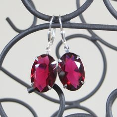 Winged Amour Red Jewel  Earrings - French Pear Gifts