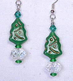 Radiant Green and White Christmas Tree Earrings by AGreenWoods on Etsy
