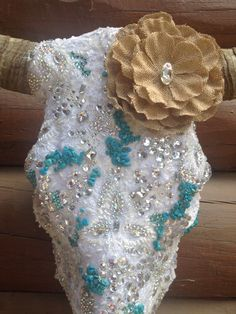 Swarovski and lace ! By jack it up designs . Elegant cow skull with lace details .
