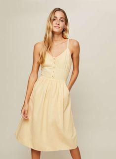 Lemon Button Midi Camisole Dress - View All - New In - Miss Selfridge