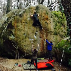 Pitch team climber Tom Greenall about to send Big Jim 6c+ at Petit Bois, Font - if you've been on this bloc you'll know it gets a bit hairy at the top! #font #climbing