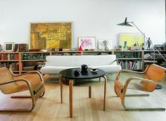 a pair of cantilevered aalto armchairs in a zurich home
