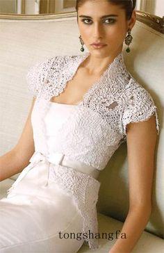 Short Sleeve Lace Jacket Sash Wedding Prom Gown Dresses