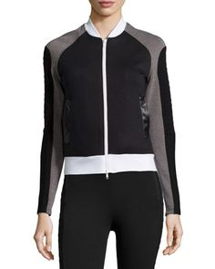 Textured Bomber Jacket, Black/Gray/White by X by Gottex at Neiman Marcus Last Call.