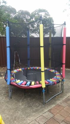 My friends did this on thier kids trampoline using pool noodles and omg it look great and works well..... well done xxx