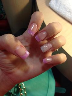 Pink and White glitter acrylic