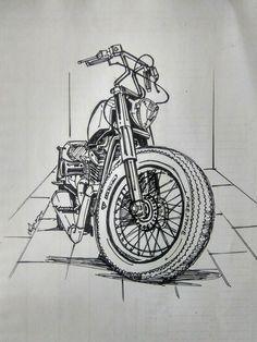 Harley heart in bobber style