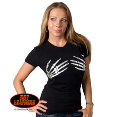 Ladies Skeleton Hands Biker Tee