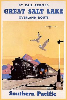 GREAT SALT LAKE CITY UTAH TRAIN SOUTHERN PACIFIC VINTAGE POSTER REPRO LARGE | eBay