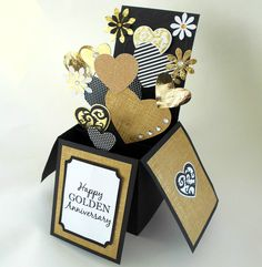 GOLDEN ANNIVERSARY CELEBRATION CARD LUXURY 3-D POP UP BOX CARD GOLD WHITE BLACK | eBay