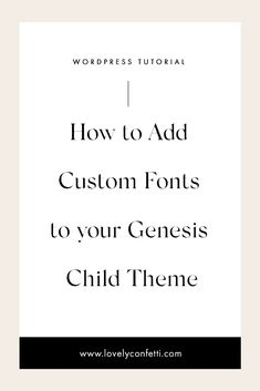 I show you How to Add Custom Fonts to your Genesis Child Theme. Adding a unique font to your website is a great way to make your design stand out online.