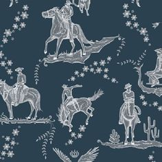 Wild West Toile - Navy and white