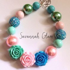 Vintage Rose chunky flower bubblegum necklace. Pink, blue, green and mint girls necklace. Spring. Wedding, flower girl. Birthday. on Etsy, $20.00