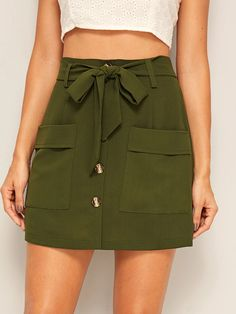 To find out about the Button Front Dual Pockets Belted Utility Skirt at SHEIN, part of our latest Skirts ready to shop online today! Edgy Dress, Casual Dresses, Casual Outfits, Women's Casual, Cute Skirts, Short Skirts, Mini Skirts, Denim Fashion, Fashion Outfits