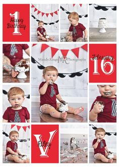 Boy's first birthday smash cake session // Little Gentleman, gray, blue, shabby gray stool, pennant banner, mustaches, photo collage // Traveling studio session at client's home - South Elgin, IL // by Mandy Ringe Photography
