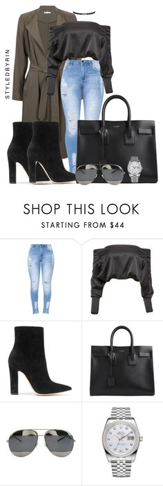 """""""Untitled #44"""" by styledbyrin ❤ liked on Polyvore featuring Anthony Vaccarello, Gianvito Rossi, Yves Saint Laurent, Christian Dior and Rolex"""