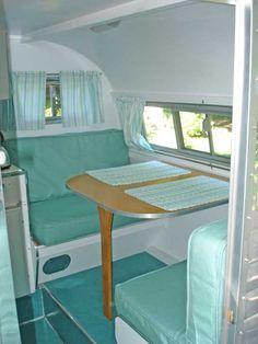 beautiful turquoise interior vintage camper