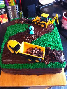 Toms birthday cake 2nd boy birthday digger cake