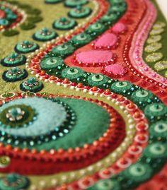 'Terrain' closeup - Felt Textile Art