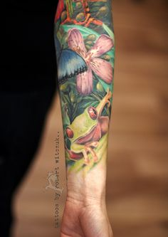 Red Eye Frog Tattoos by Robert Witczuk