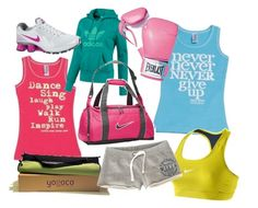 :) love workout clothes, motivational shirts & pink boxing gloves (I really want a pair)