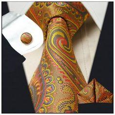 T476 Paisley Multicolor Yellow Tie Set 100 Silk Mens Neckties Ties Cuffs Hanky | eBay