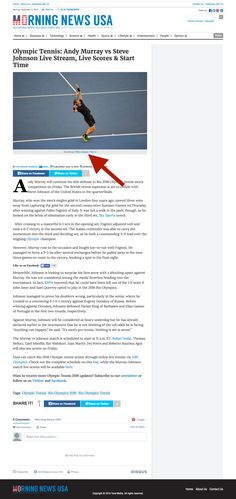 Morning News USA - Olympic Tennis: Andy Murray vs Steve Johnson Live Stream, Live Scores & Start Time Stream Live, Start Time, Usa Olympics, Andy Murray, Morning News, Usa News, Science And Technology, Scores, Tennis